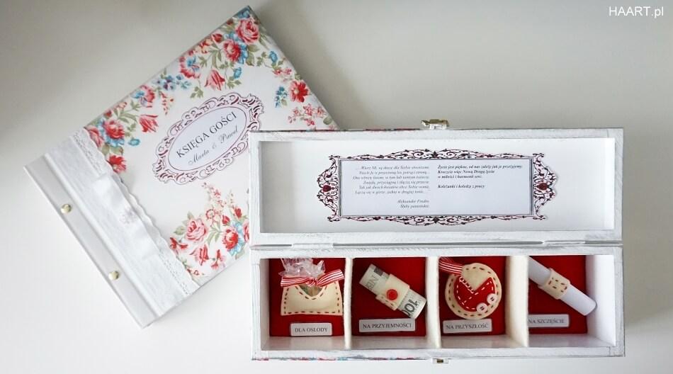 księga gości weselnych, pudełko z życzeniami dla pary młodej, decoupage