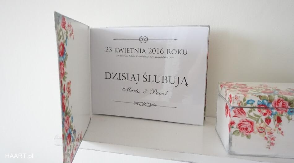 prezent na ślub, księga gości weselnych decoupage, strona tytułowa