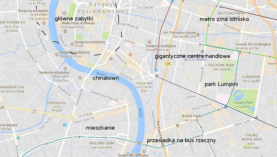 bangkok mapy google atrakcje