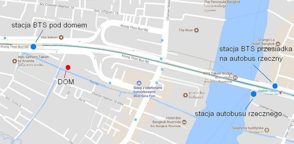 mapa google mieszkanie w bangkoku i przystanek autobusu rzecznego