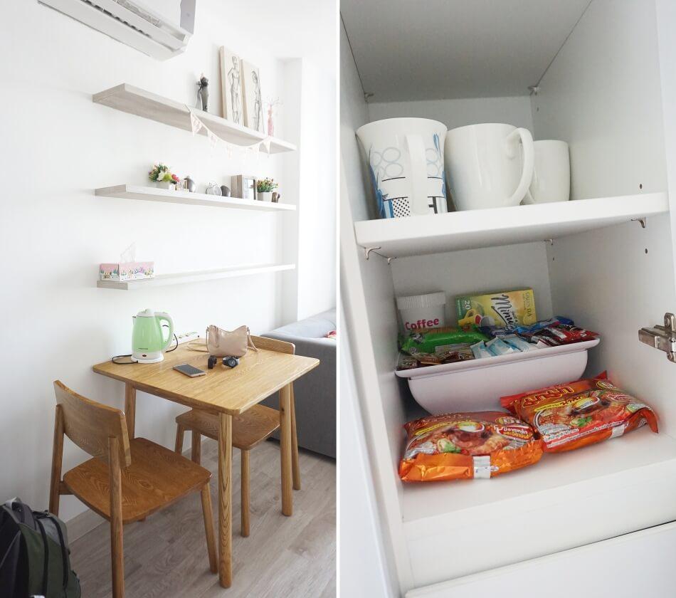 mieszkanie w bangkoku jadalnia i szafki kuchenne