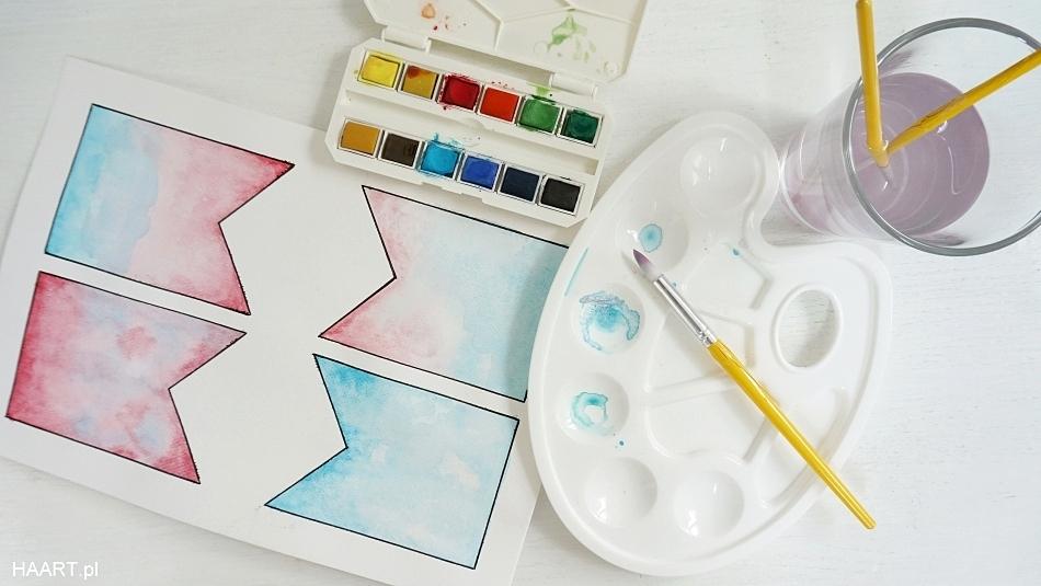 Girlanda do druku. Malowanie akwarelami. Projekt chorągiewek. Instrukcja krok po kroku jak zrobić, pobierz bezpłatnie, za darmo - haart.pl blog diy zrób to sam