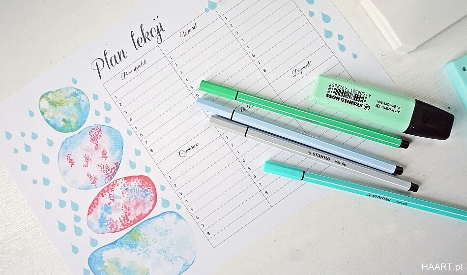 plan lekcji do druku szablon do pobrania, markery
