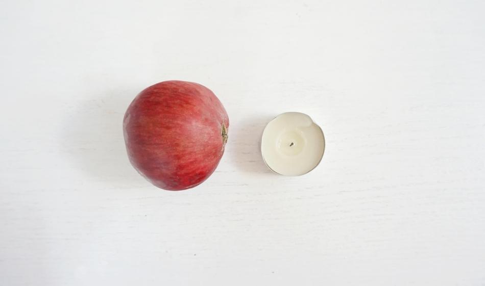 świeczniki z jabłek, jabłko, świeczka - haart.pl blog diy zrób to sam 1