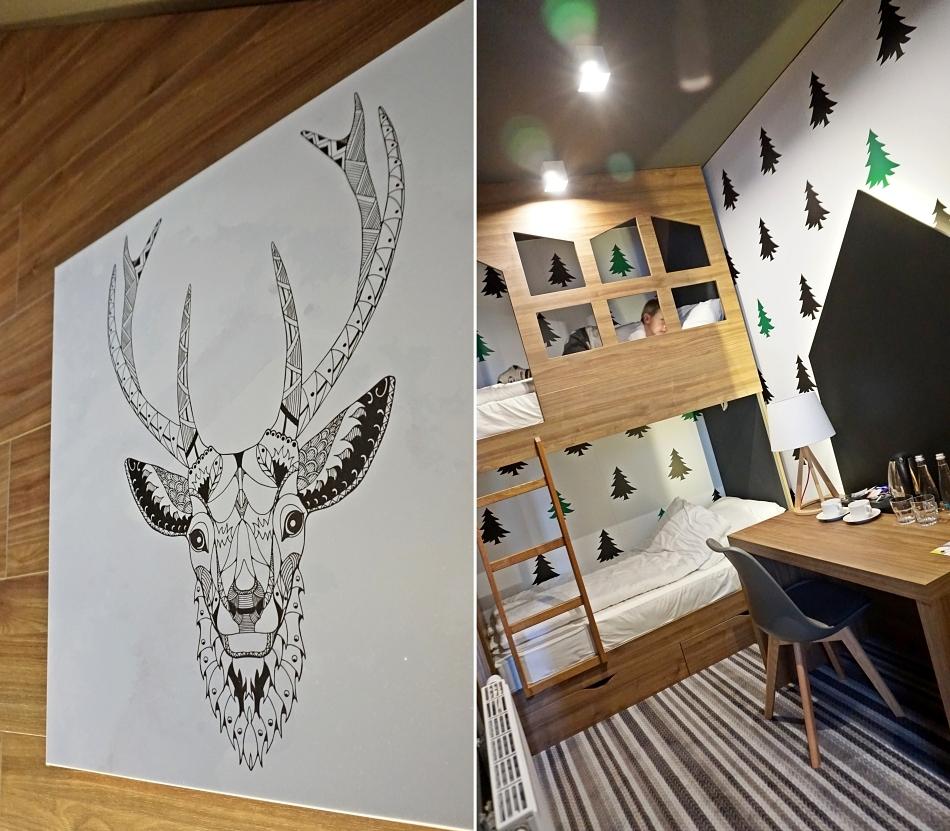 Bacówka Radawa pokój dziecka, hotel obraz z jeleniem. piętrowe łóżko. HAART.pl blog diy