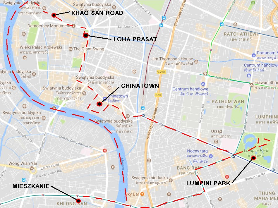 Bangkok zwiedzanie - Khao San, Chinatown, Lumpini Park - haart.pl blog diy zrób to sam mapa google