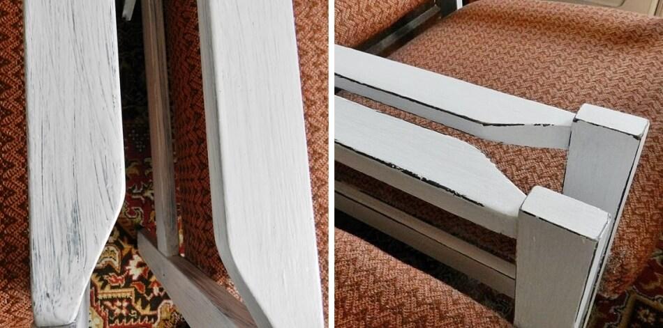 jak odnowić stary fotel w stylu shabby chic, malowanie oparć i nóżek
