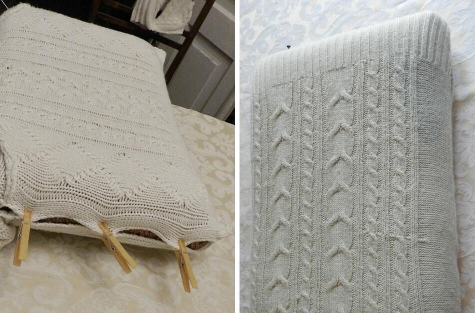 jak odnowić stary fotel, obszywanie siedziska i oparcia wełnianym swetrem diy