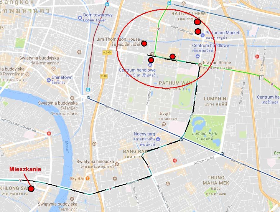 Bangkok atrakcje 3/3 - MBK, Pratunam Market, Baiyoke Sky Bar - mapa google 1