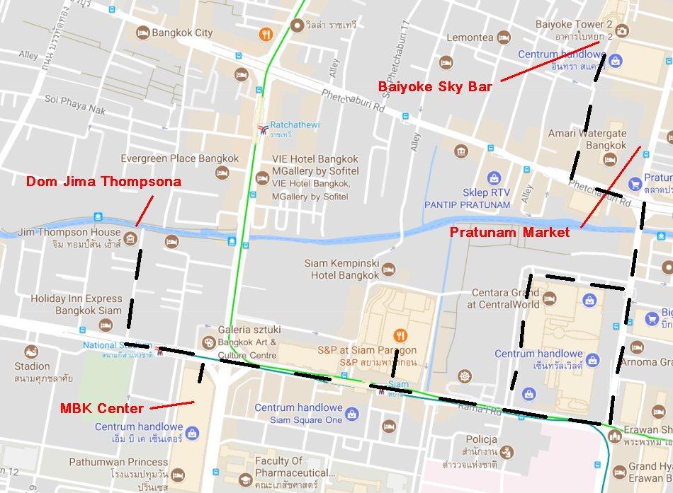 Bangkok atrakcje 3/3 - MBK, Pratunam Market, Baiyoke Sky Bar - mapa google 2
