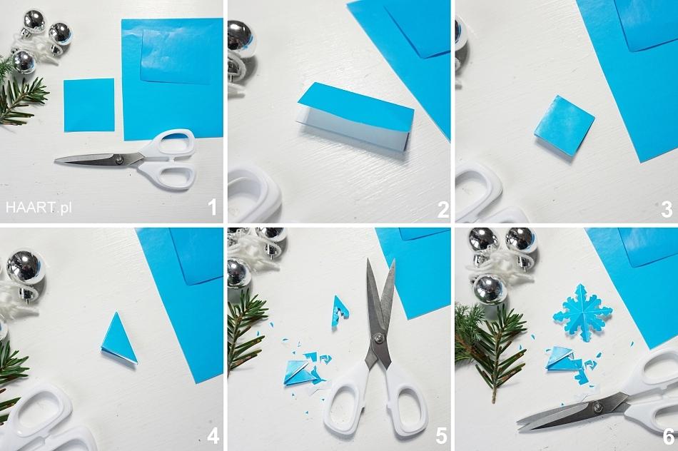 Świąteczne dekoracje. Wycinanki z papieru. Gwiazdka, nożyczki, świerk. HAART blog diy zrób to sam