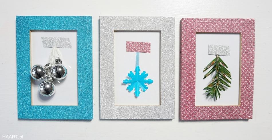 Świąteczne dekoracje. Taśma brokatowa, ramki, bombki, wycinanki. HAART blog diy zrób to sam