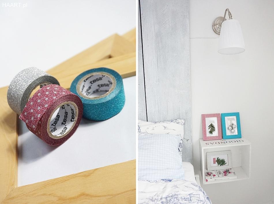 Świąteczne dekoracje w sypialni. Ramki z taśmą brokatową tesa, zielone gałązki, szafki nocne. Haart blog diy zrób to sam 2