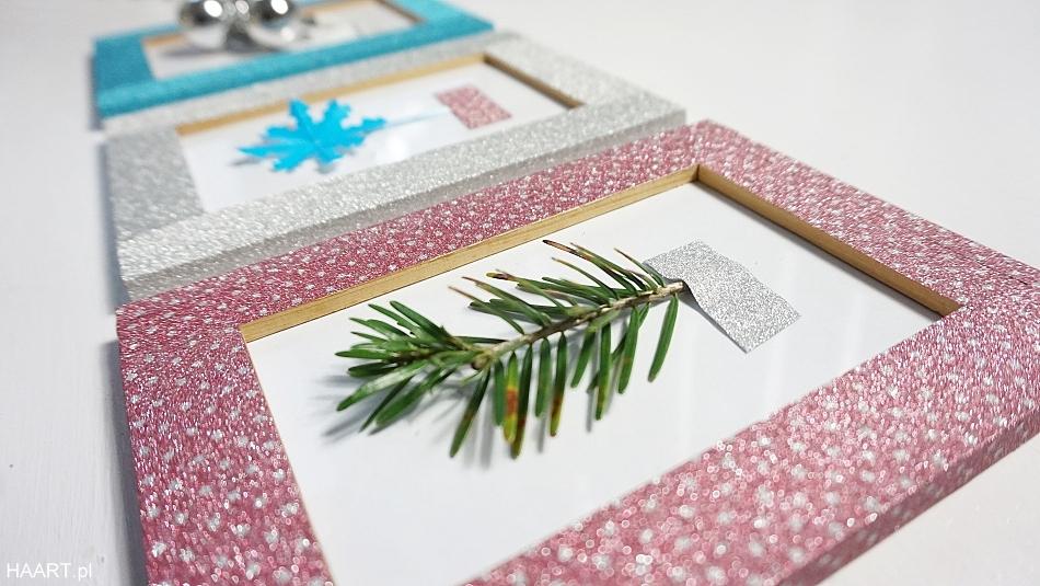 Świąteczne dekoracje. Taśma brokatowa tesa, ramka na zdjęcia, zielone gałązki. HAART blog diy zrób to sam