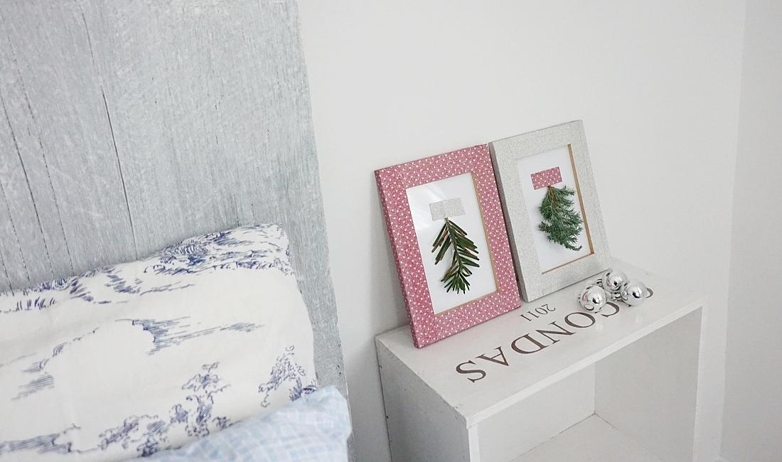 Świąteczne dekoracje DIY. Ramki z gałązkami świerku i taśmą brokatową tesa