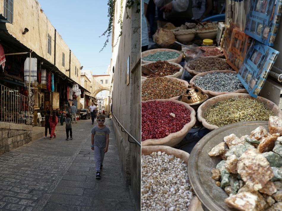Jerozolima wąskie uliczki ze sklepikami