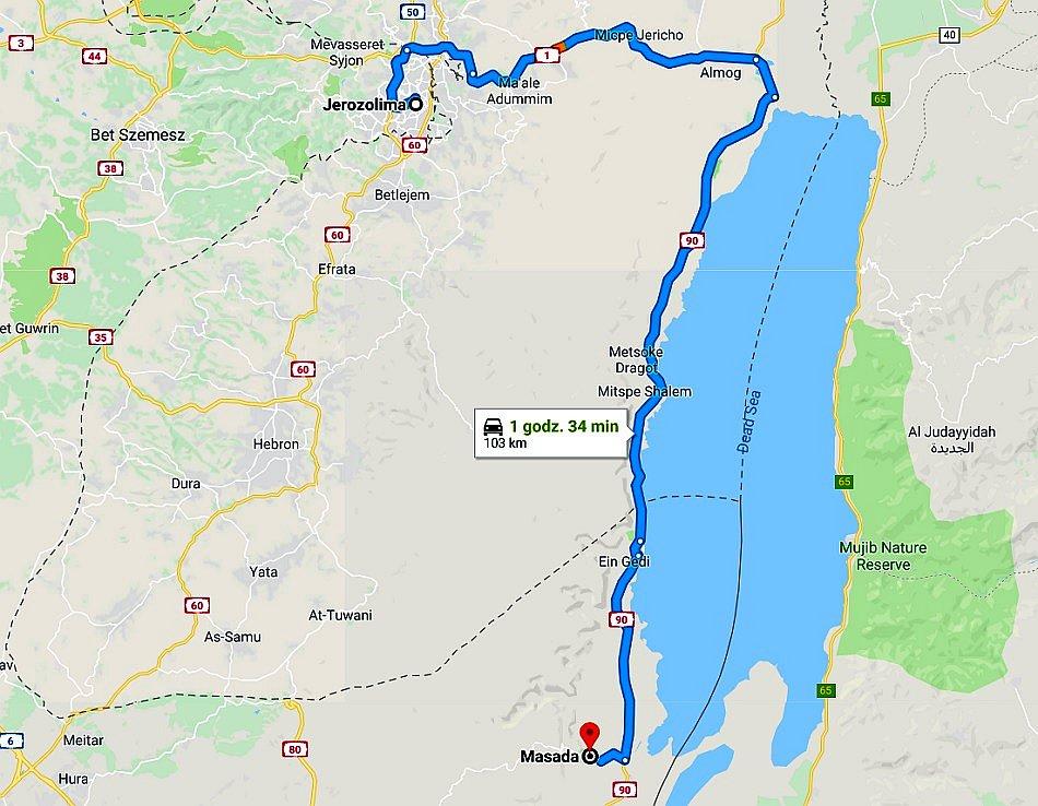 masada izrael mapa google z trasą dojazdu z jerozolimy
