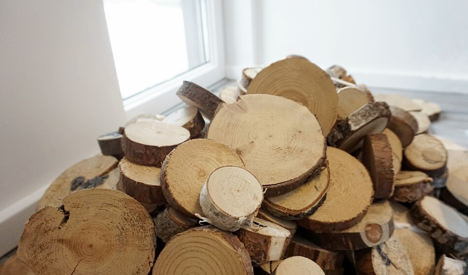 drewniane plastry do umieszczenia na ścianie