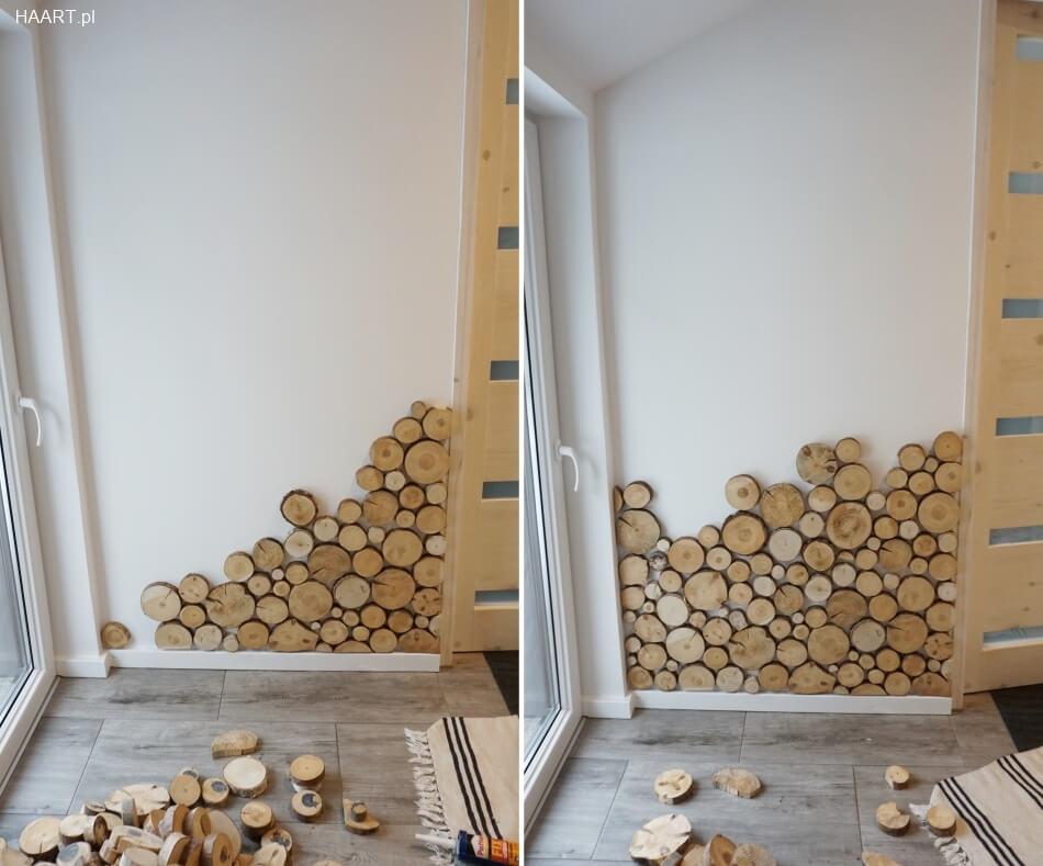 plastry drewna klejone do ściany, układanie wzoru