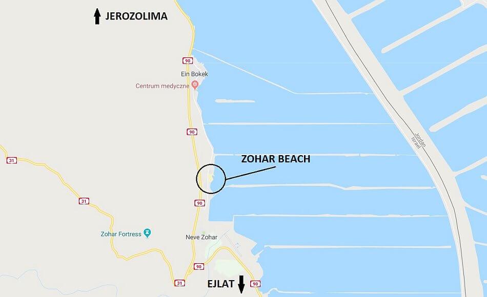 morze martwe zohar beach na mapie google dojazd z jerozolimy i ejlat