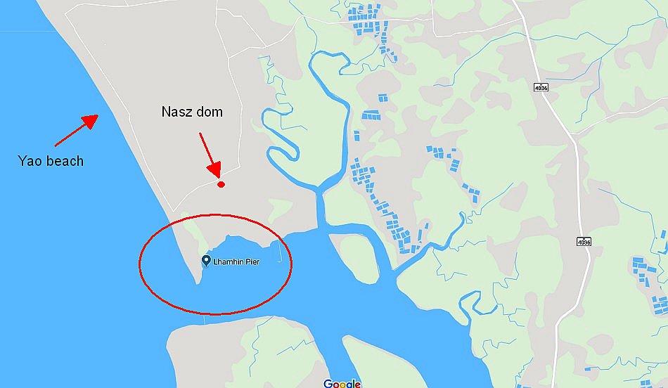krabi tajlandia mapa google yao beach wioska laemhin