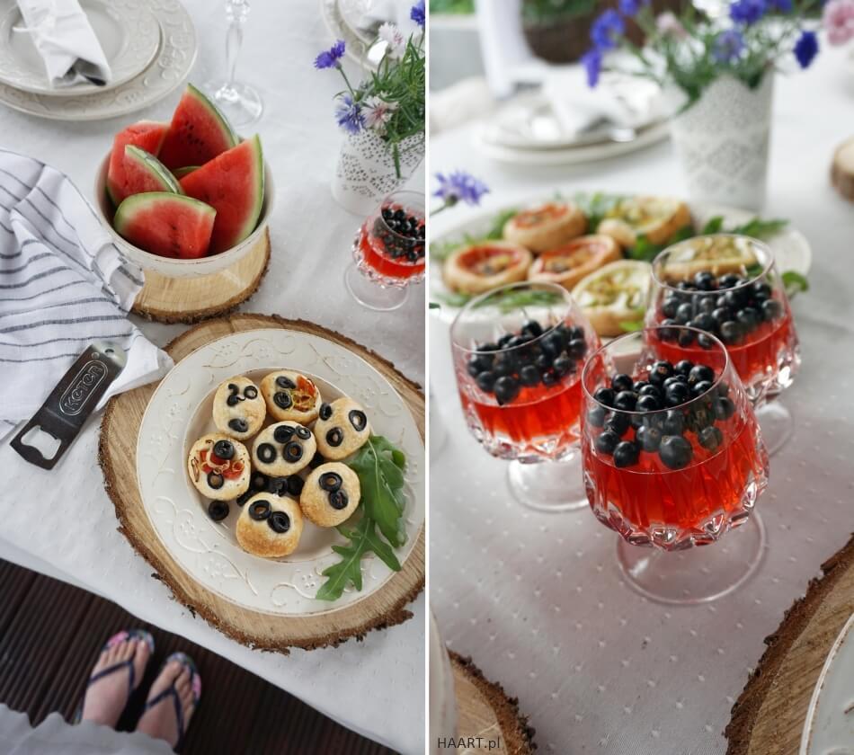 deser na letnie spotkanie, galaretki z porzeczkami, przekąska z oliwkami
