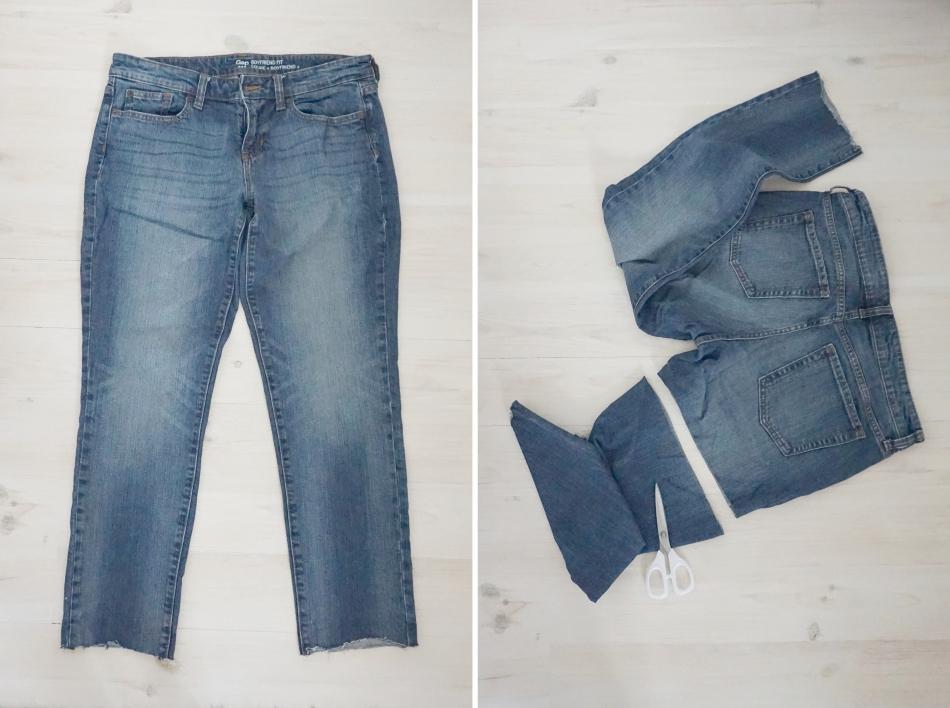 Szorty z koronką z jeansów
