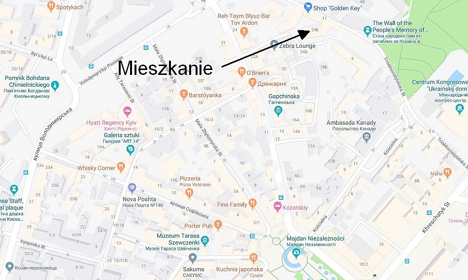 mapy google kijów lokalilzacja mieszkania airbnb