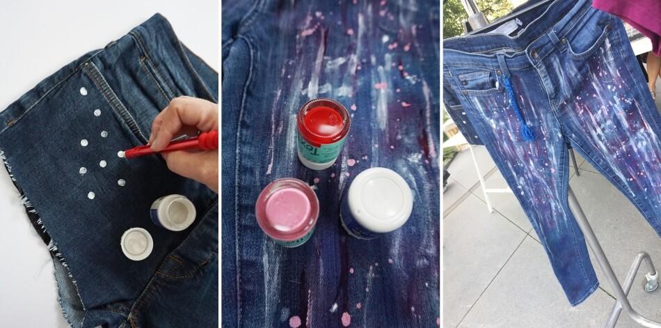 warsztaty diy, warszawa, plac unii, malowanie spodni jeansowych