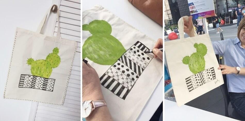 przerabianie ubrań i malowanie na tkaninach, lniana torba na zakupy