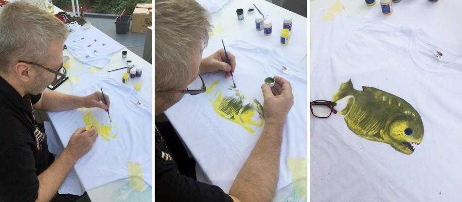 malowanie na tkaninach, motyw ryby