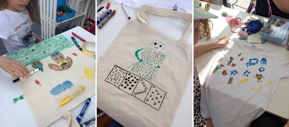 warsztaty diy dla dzieci, malowanie na płóciennych torbach