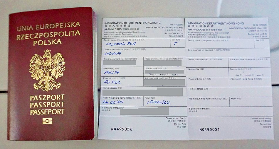 karta imigracyjna do hong kongu, immigration card