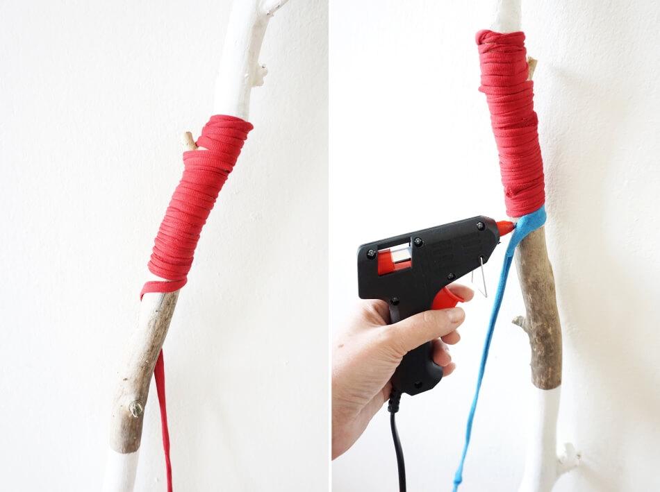 sklejanie sznurka z kijem patykiem, zabawka dla dzieci diy