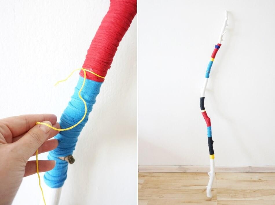 kolorowy kij dla dzieci zabawka diy wiązanie sznurków