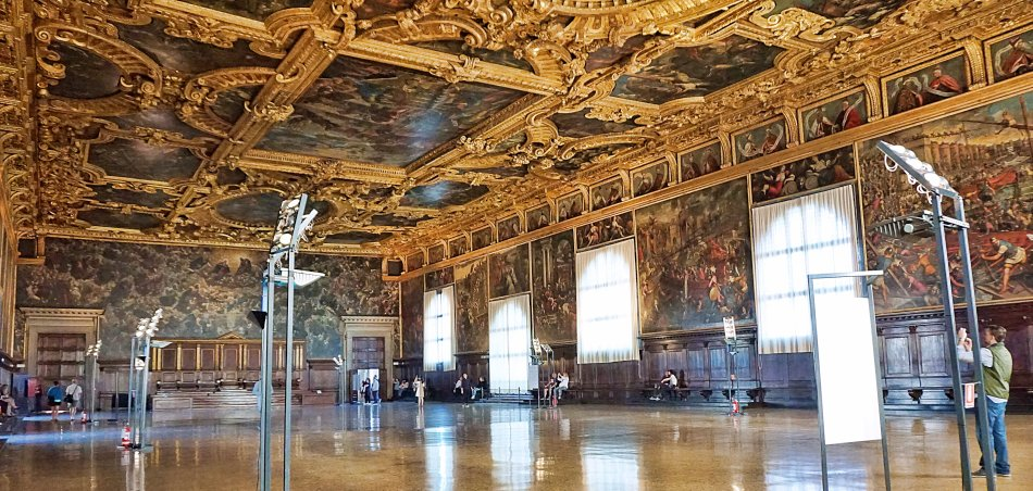zabytki wenecji wenecja włochy pałac dożów sala wielkiej rady salla del magior consiglio