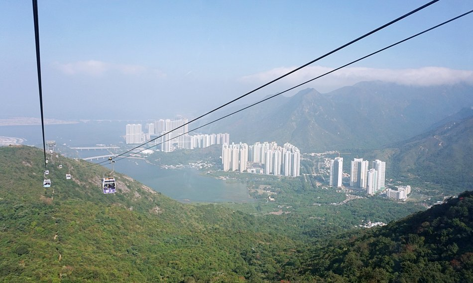 ngong ping hong kong lantau kolejka linowa panorama z wagonika