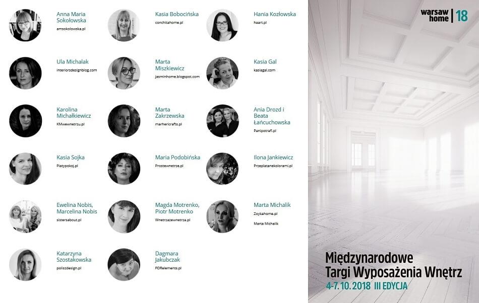 Lista blogerów na warsaw home 2018
