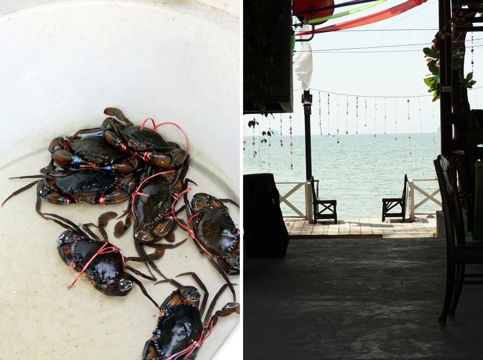 kraby w restauracji przy plaży, tajlandia