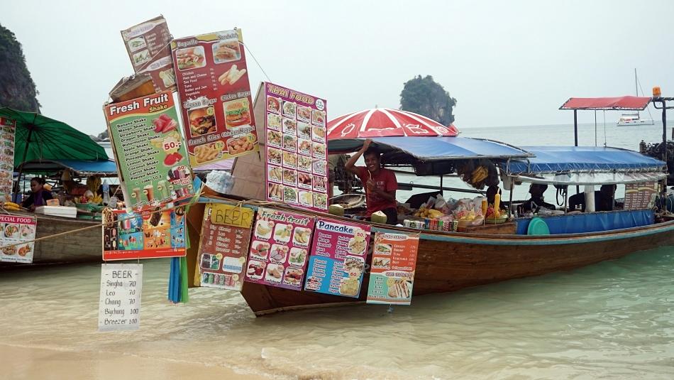 phra nang, long boat z menu