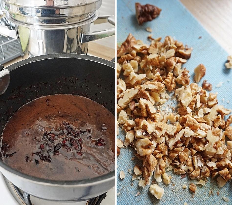 płatki owsiane orzechy włoskie i płynna czekolada przygotowanie