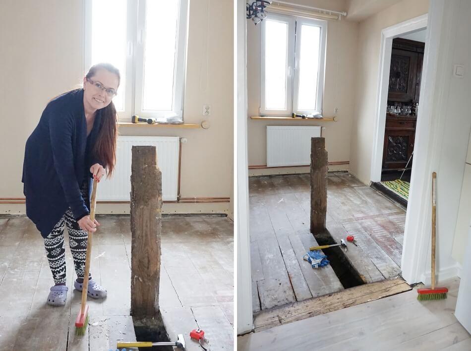 remont jadalni zniszczone deski podłogowe