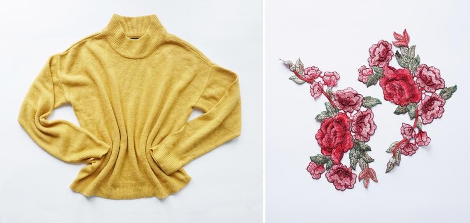 metamorfoza zółtego swetra, doszywanie aplikacji