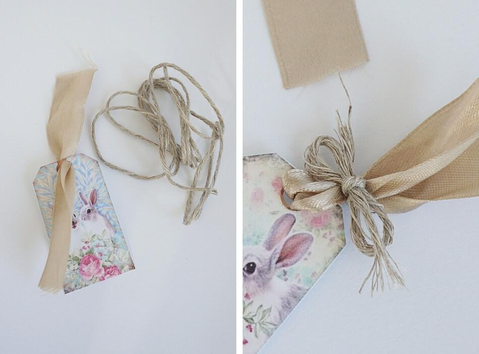 Kartka wielkanocna z zajączkiem. Satynowa wstążka i sznurek