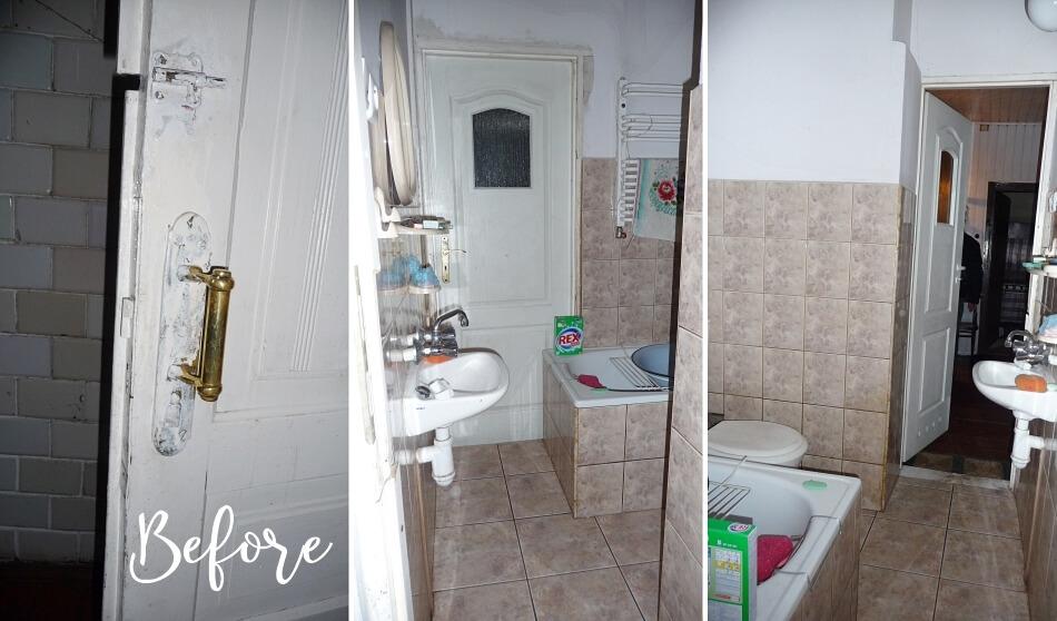 Metamorfoza łazienki Stan przed remontem. Kolorowa glazura, mała umywalka.