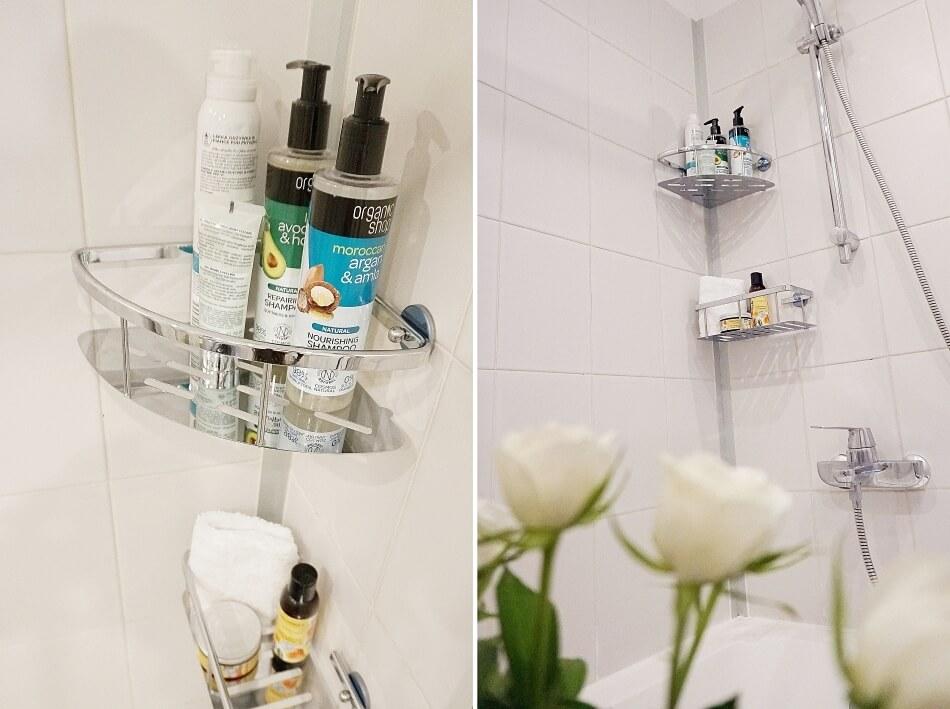 metamorfoza łazienki, półka narożna tesa power kit z kosmetykami