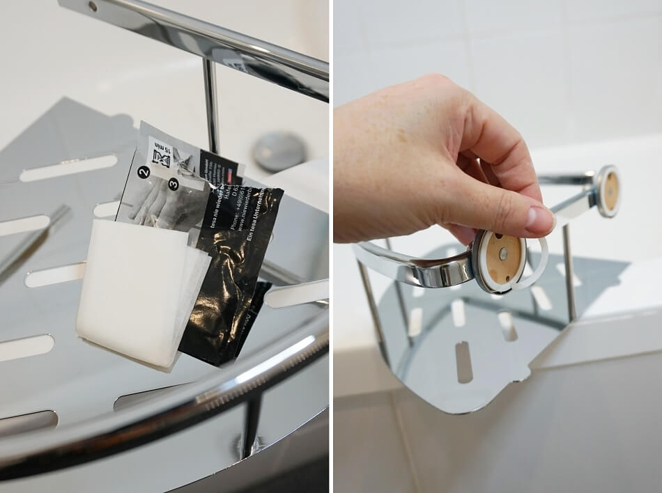 metamorfoza łazienki, uchwyt narożny tesa, przyklejany system power.kit
