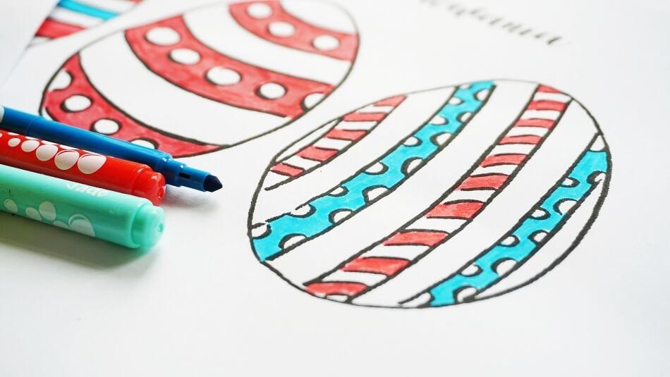 Pisanki do kolorowania diy, szablon do druku, karty pracy w przedszkolu