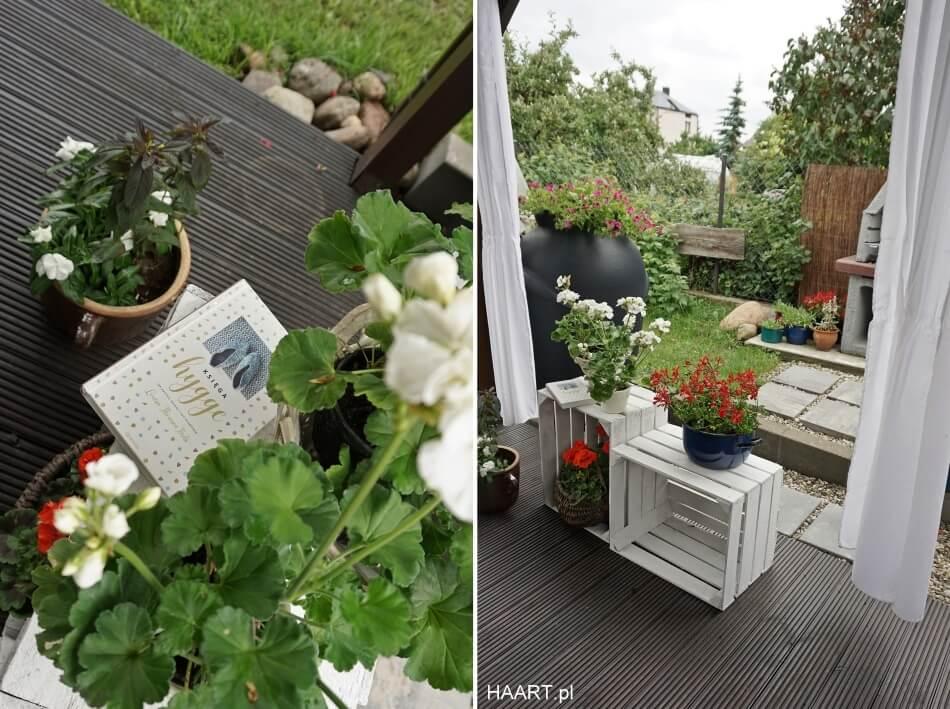 białe skrzynie po jabłkach w ogrodzie, diy kwietnik