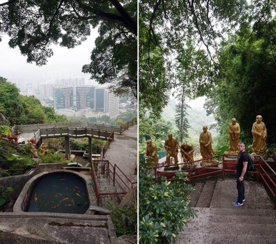 Atrakcje Hong Kongu klasztor 10000 Buddów, widok na miasto
